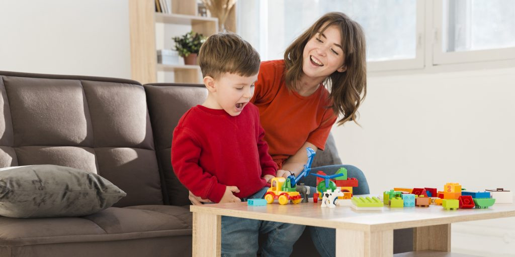 Mom and child playing toys